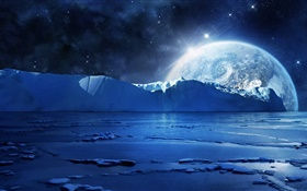 Night, ice, sea, planets, stars, cold HD wallpaper