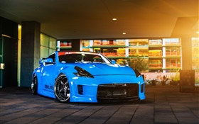 Nissan 370z blue car HD wallpaper