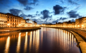 Pisa, Italy, city night, lights, river HD wallpaper