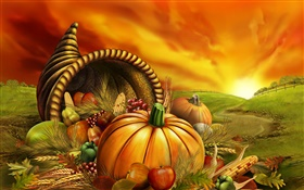 Pumpkin, corn, grapes, apples, fields, Thanksgiving HD wallpaper