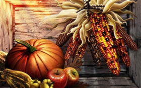 Pumpkin, corn, peppers, apples, Thanksgiving HD wallpaper