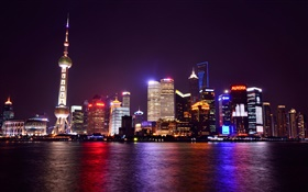 Shanghai, China, night, city, lights, skyscrapers, river HD wallpaper
