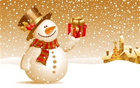Snowman, gifts, Christmas theme pictures HD wallpaper