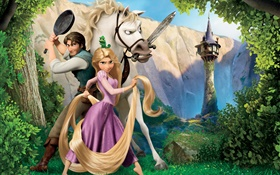 Tangled, Disney movie, horse, princess HD wallpaper