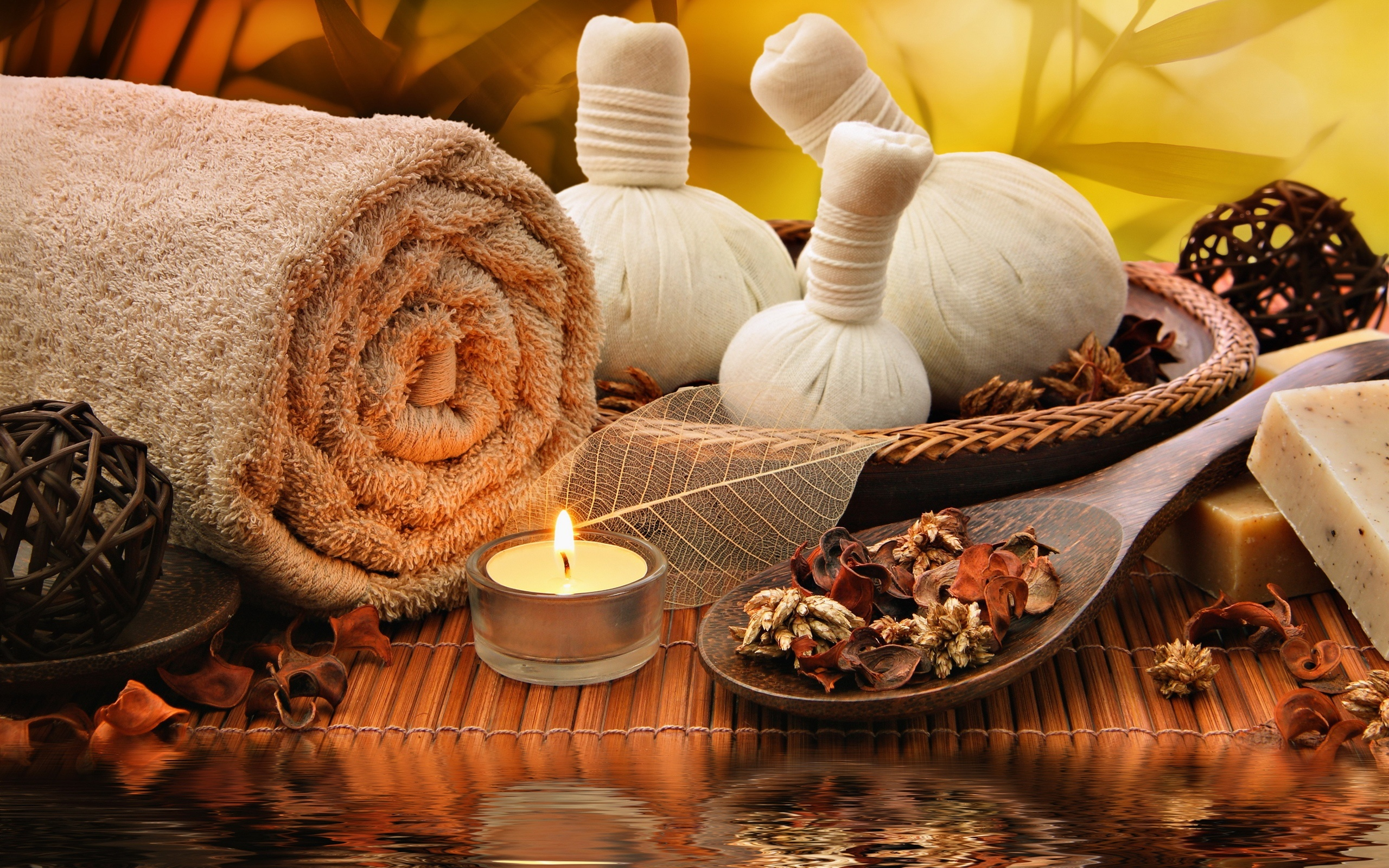 Towel, candle, salt, SPA 2560x1600 wallpaper
