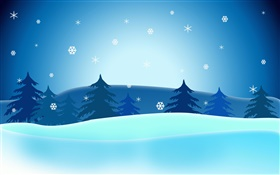 Vector Christmas pictures, trees, snowflakes, blue sky HD wallpaper
