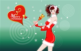 Vector girl, Merry Christmas HD wallpaper
