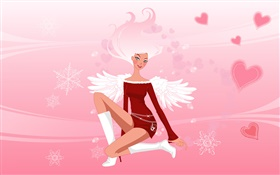 Vector illustration, fashion girl, wings, angel HD wallpaper
