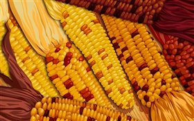 Vector image, corn close-up HD wallpaper