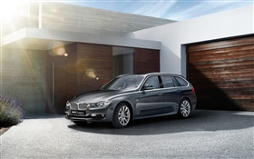 2015 BMW 3 series touring, black car HD wallpaper