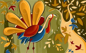 Abstract art paintings, chicken, leaves HD wallpaper