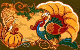 Abstract painting, chicken and pumpkin HD wallpaper