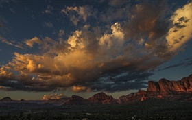 America, Utah, trees, mountains, clouds, dusk, canyon HD wallpaper