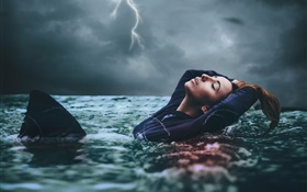 Amy Spanos, girl in water, storm HD wallpaper