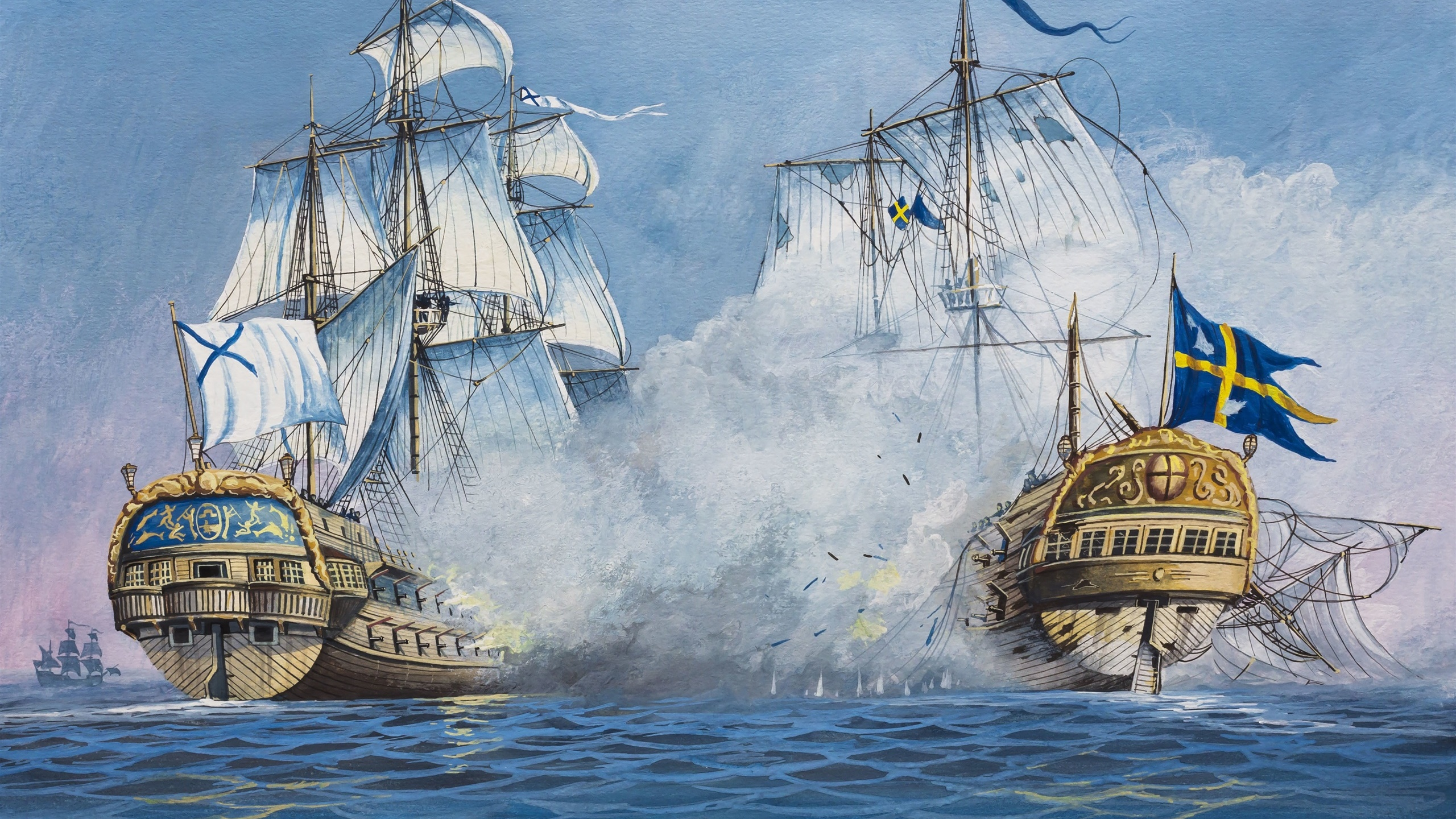 Art painting, sailing, ships, battle, sea 2560x1440 wallpaper