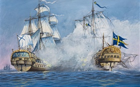 Art painting, sailing, ships, battle, sea HD wallpaper