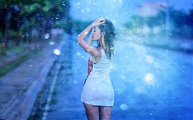 Asian girl, street, rain HD wallpaper