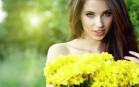 Beautiful long hair girl, yellow chrysanthemums HD wallpaper