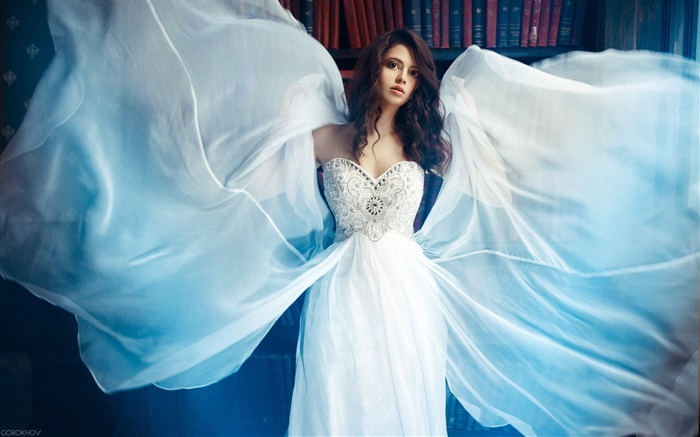 Beautiful white dress girl, wings, books Wallpapers Pictures Photos Images