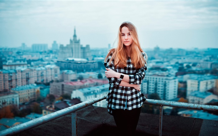 Blonde girl, roof, city Wallpapers Pictures Photos Images