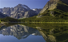 Canada landscape, lake, mountains, forest, water reflection HD wallpaper