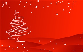 Christmas theme, simple style, tree, red background