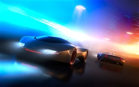 Concept car, neon light, creative