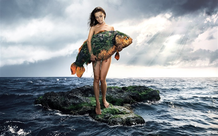 Creative pictures, girl hold a fish, sea, clouds Wallpapers Pictures Photos Images