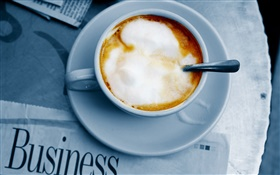 Cup, coffee, newspaper HD wallpaper