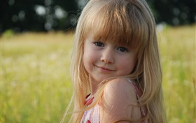 Cute little blonde girl, looking, eyes HD wallpaper