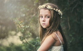 Cute little girl, sadness, child, wreath, flowers HD wallpaper