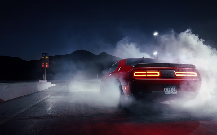 Dodge Challenger red supercar rear view, smoke HD ...