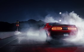 Dodge Challenger red supercar rear view, smoke HD wallpaper