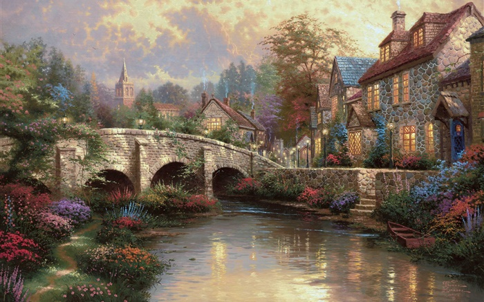 England, Wiltshire District, countryside, village, house, bridge, art painting Wallpapers Pictures Photos Images