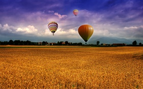 Farm, field, hot air balloons, sky, clouds, houses, village HD wallpaper