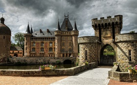 France, Castle of La Clayette, fortress, towers, gate, clouds HD wallpaper