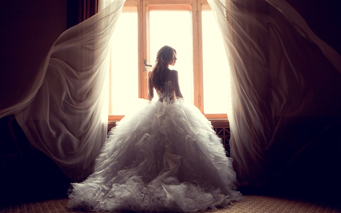 Girl at window side, white dress, curtains Wallpapers Pictures Photos Images