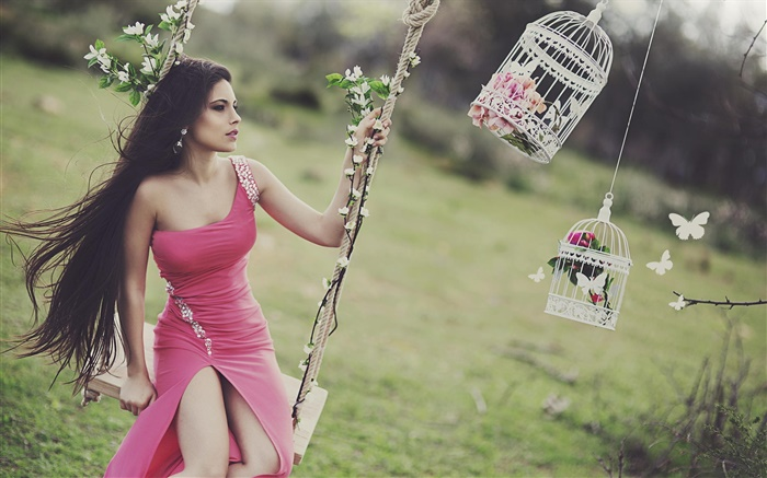 Girl playing swing, long hair, red dress Wallpapers Pictures Photos Images