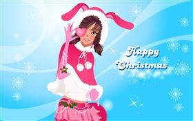 Happy Christmas, vector, cute girl HD wallpaper