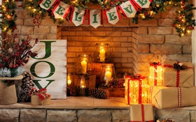 Happy New Year, Merry Christmas, fireplace, candles, gift boxes HD wallpaper