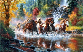 Horses, river, waterfall, forest, autumn, trees, art painting HD wallpaper