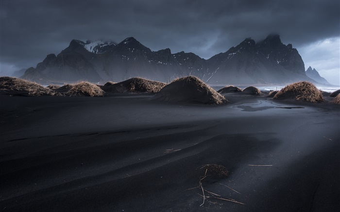 Iceland, Vestrahorn, black sand, dusk, grass, mountains, clouds Wallpapers Pictures Photos Images