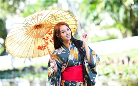 Japanese girl, kimono, umbrella, glare HD wallpaper