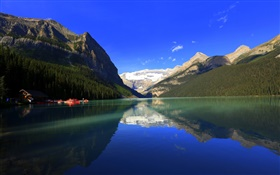 Lake Louise, Banff National Park, Alberta, Canada, mountains, forest, house, boat HD wallpaper