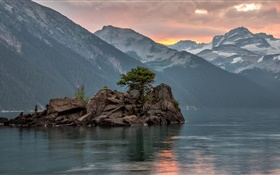 Lake, mountains, clouds, rocks island HD wallpaper