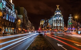 Madrid, Spain, city night, lights, houses, buildings, road HD wallpaper