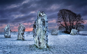 Megalith, stones, trees, snow, clouds, winter HD wallpaper