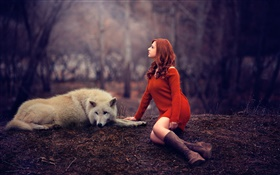 Melis, girl and wolf, red sweater HD wallpaper