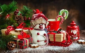 Merry Christmas, New Year, decoration, snowman, cup, candy, gifts HD wallpaper