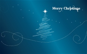 Merry Christmas, creative design, tree, star, blue background HD wallpaper